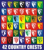 42 Country crests Royalty Free Stock Photos