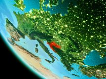 Croatia in red in the evening. Country of Croatia in red on planet Earth in the evening. 3D illustration. Elements of this image furnished by NASA Stock Photo