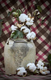 Country Crock and Cotton Bolls. This is a antique moonshine jug or crock with a metal bale and cotton bolls on a plaid background Stock Photography