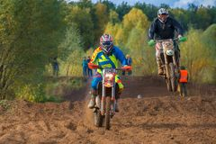 Country-cross. SERPUKHOV, RUSSIA - OCTOBER 7, 2017: Skryabin Aleksandr 168,  Class MX - absolute cross-country, in the 4 stage  MX series, the Red Wings Cup 2017 Stock Images