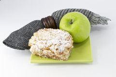 Country crumb cake and green apple Stock Photos