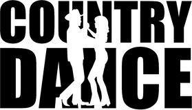 Country dance word with cutout silhouette Royalty Free Stock Photography