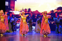 "Country dancing-Large scale scenarios show"" The road legend"". The drama about a Han Princess and king of Tibet Song Xan Gan Bbu and the story, across stock photo"