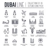 Country Dubai travel vacation guide of goods, place and feature. Set of architecture, fashion, people, item, nature. Background concept. Infographic traditional Royalty Free Stock Photos