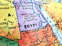 Country of Egypt focus macro shot on globe map for travel blogs, social media, website banners and backgrounds. Country of Egypt focus macro shot on globe map royalty free stock photos