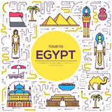 Country Egypt travel vacation guide of goods, places and features. Set of architecture, people, culture, icons. Background concept. Infographics template design Royalty Free Stock Photo