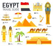 Country Egypt travel vacation guide of goods, places and features. Set of architecture, people, culture, icons background concept royalty free illustration
