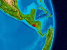El Salvador from space. Country of El Salvador in red on planet Earth. 3D illustration. Elements of this image furnished by NASA royalty free stock photo