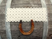 Country Embroidered White Lace Space on Barrel Royalty Free Stock Images