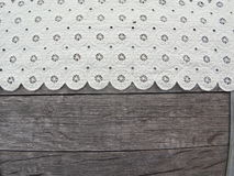 Country Embroidered White Lace Space on Top of Barrel Royalty Free Stock Photo