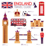 Country England travel vacation guide of goods, places and features. Set of architecture, people, sport, items, icons. Background concept. Infographics template Stock Photos