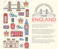 Country England travel vacation guide of goods, places in thin lines style design. Set of architecture, people, sport Stock Images