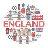 Country England travel vacation guide of goods, places in thin lines style design. Set of architecture, people, sport Royalty Free Stock Photos