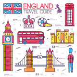 Country England travel vacation guide of goods, places in thin lines style design. Set of architecture, people, sport. Icons background concept. Infographics Stock Photography