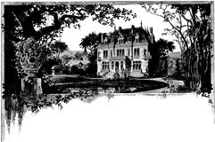 Country estate in black and white Stock Photo