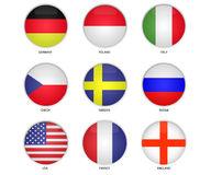 Country europe flag icon. Round button national flag of france, england, italy, poland, russia, chech, germany, usa, sweden. Country europe flag icon Stock Photography