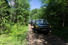Country expedition Hummer club. Leningrad oblast, Russia , June 4, 2016 , the first summer Out of St. Petersburg Hummer Club , the Hummer H3 is a compact four Royalty Free Stock Images