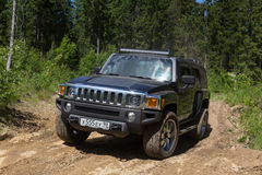 Country expedition Hummer club. Leningrad oblast, Russia , June 4, 2016 , the first summer Out of St. Petersburg Hummer Club , the Hummer H3 is a compact four Royalty Free Stock Photos