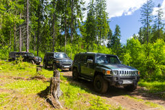 Country expedition Hummer club. Leningrad oblast, Russia , June 4, 2016 , the first summer Out of St. Petersburg Hummer Club , the Hummer H3 is a compact four Stock Photo