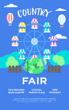 Country Fair. Beautiful vector detailed event poster for country fair. Creative poster templates with park nad ferris wheel ride royalty free illustration