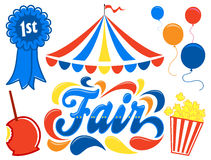 Country Fair Clipart Set/eps. Illustrated logotype headline of the title Fair, with clipart images of fair food, a prize premium ribbon and balloons