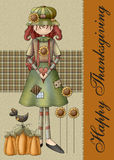 Country Fall Season Girl Thanksgiving Card. An adorable Happy Thanksgiving card or background you can use for the holiday this year royalty free illustration