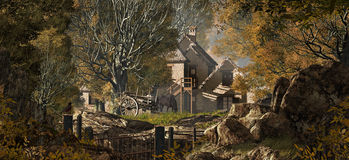 Country Farm. An old country farm house with cart, set in a fall woodland scene Royalty Free Stock Photography