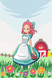 Country farm girl. A vector illustration of a country farm girl carrying a basket of flowers Royalty Free Stock Photography