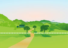 Country farm. Illustration of a country farmhouse and fenced fields with mountains in the background Royalty Free Stock Photo