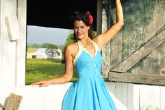 Country farm pin up girl Royalty Free Stock Image