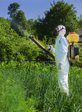 Country farmer spraying insecticide. In his garden Stock Photo