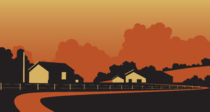 Country farmstead. Vector illustration of a rural farm in rolling hills Stock Image