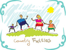 Country fatties. Drawing, a family Royalty Free Stock Photos
