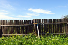 Country fence and blue sky Stock Photography