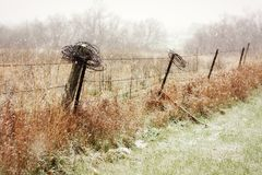 Country Fence in the Snowy Winter Stock Photography