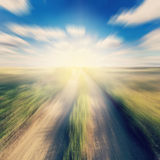 Country and field motion blur with sunl Stock Photo