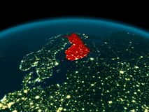 Orbit view of Finland at night. Country of Finland in red on planet Earth at night. 3D illustration. Elements of this image furnished by NASA Stock Images