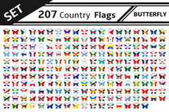 207 country flag butterfly. Set 207 country flag butterfly Stock Photos