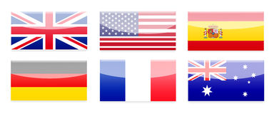 Country Flag Buttons Stock Images