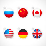 Country flag icons. Set or collection of international country flag icons Stock Images