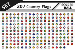 207 country flag soccer balls. Set 207 country flag soccer balls Royalty Free Stock Image