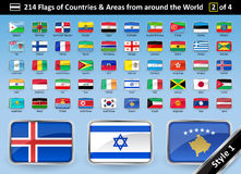 Country Flags and Areas from around the World STYLE 1 Royalty Free Stock Photography