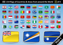 Country Flags and Areas from around the World STYLE 1 Stock Photo