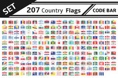207 country flags code bar. Set 207 country flags code bar Stock Images