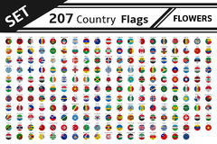 207 country flags flowers Stock Image