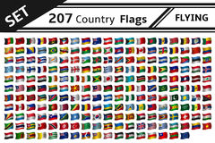 207 country flags flying Stock Photo