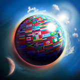 Country flags globe in space Stock Photo
