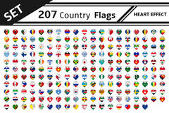 207 country flags heart effect Royalty Free Stock Image