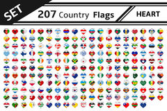 207 country flags with heart shape stock illustration