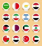 Country flags. Map markers with flags - Middle East countries Royalty Free Stock Photography